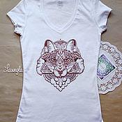Одежда ручной работы. Ярмарка Мастеров - ручная работа Х/б футболка с лисой (графика). Handmade.