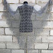 handmade. Livemaster - original item Shawl gray openwork large knitted with knitting needles. Handmade.