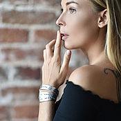 Украшения handmade. Livemaster - original item Leather bracelet-winding Silver. Handmade.