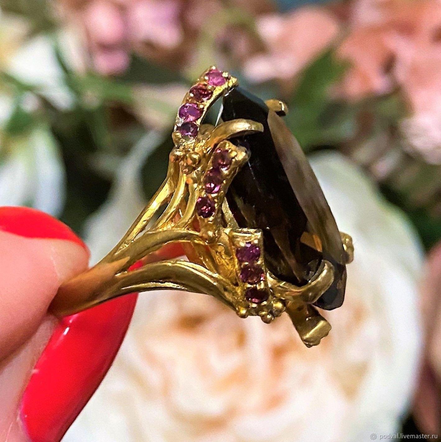 Ring with natural rauchtopaz, rubies 'Bohemia'(p 18), Rings, Korolev,  Фото №1