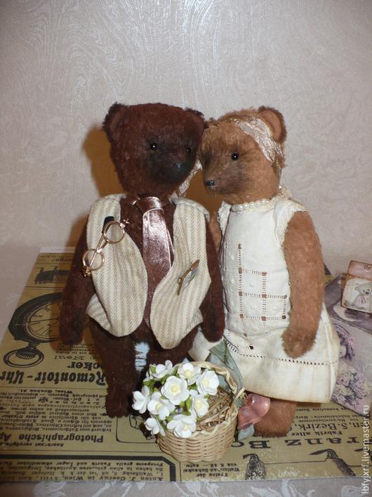 Мишки Тедди ручной работы. Ярмарка Мастеров - ручная работа. Купить Семейная пара. Handmade. Коричневый, авторские мишки Тедди