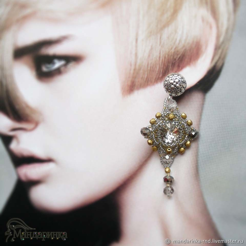 Beaded earrings with Rivoli 'Winter sun', Earrings, Rostov-on-Don,  Фото №1