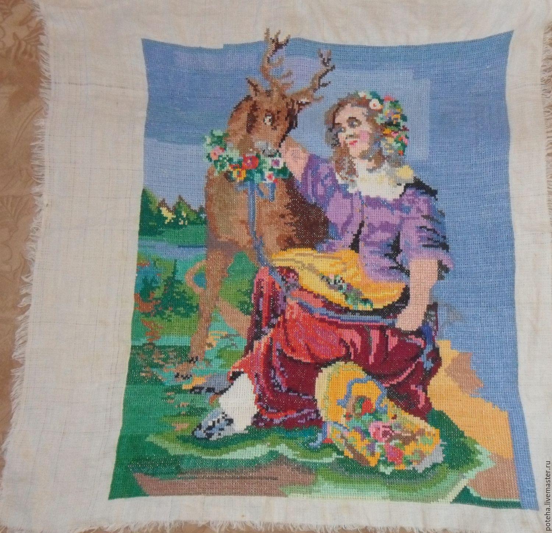 Вышивка девушка и олень