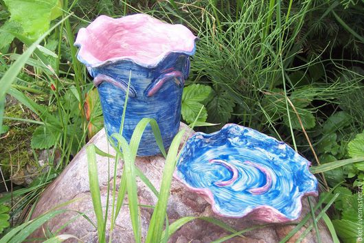 """Ванная комната ручной работы. Ярмарка Мастеров - ручная работа. Купить Набор для ванной """"Синий"""" керамический. Handmade. Глина, мыльница"""
