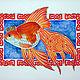 Животные ручной работы. Ярмарка Мастеров - ручная работа. Купить Акварель Золотая рыбка. Handmade. Оранжевый, акварель, акварельная картина