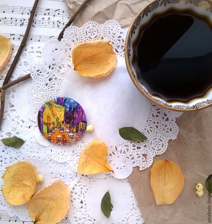 Brooch Pendant Quot Cafe Terrace At Night Quot Based On The