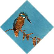 """Картины ручной работы. Ярмарка Мастеров - ручная работа Картина акрилом """"Зимородок"""". Handmade."""