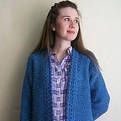 Одежда ручной работы. Ярмарка Мастеров - ручная работа Кардиган вязаный пальто темно-голубого цвета с поясом из пряжи Италии. Handmade.