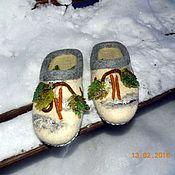 """Обувь ручной работы. Ярмарка Мастеров - ручная работа тапочки """"Березки-2"""". Handmade."""