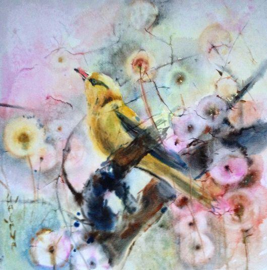 Символизм ручной работы. Ярмарка Мастеров - ручная работа. Купить Акварель Золотая Птица. Handmade. Акварель, акварель по-сырому, одуванчики