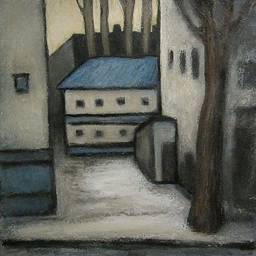 """Картины и панно ручной работы. Ярмарка Мастеров - ручная работа Картина """" Дворик (3)""""  бумага, масло, смешанная техника. Handmade."""