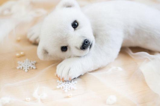 Игрушки животные, ручной работы. Ярмарка Мастеров - ручная работа. Купить белый медвежонок Момо. Handmade. Белый, валяная игрушка