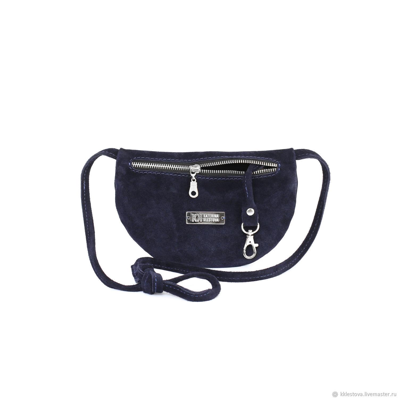 f3a8bce0caf8 Женские сумки ручной работы. Ярмарка Мастеров - ручная работа. Купить Синяя  замшевая маленькая полукруглая ...