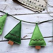 Сувениры и подарки handmade. Livemaster - original item Christmas garland of felt Christmas Trees. Handmade.