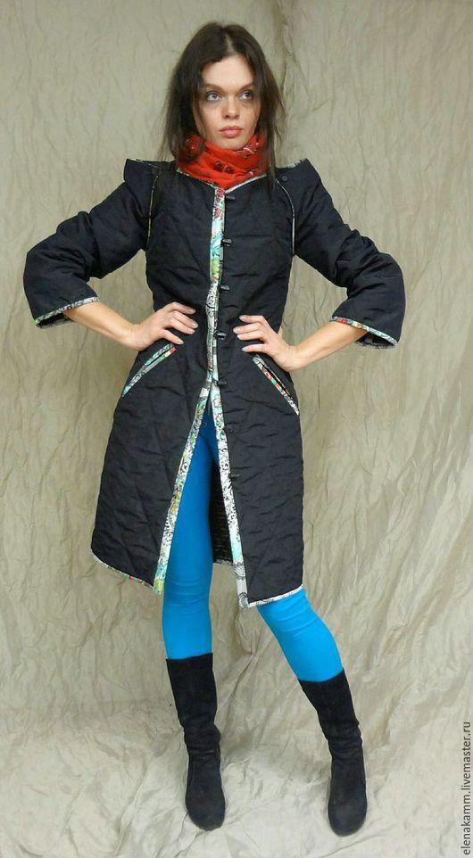 Верхняя одежда ручной работы. Ярмарка Мастеров - ручная работа. Купить Стёганое пальто с контрастной отделкой. Handmade. Темно-серый