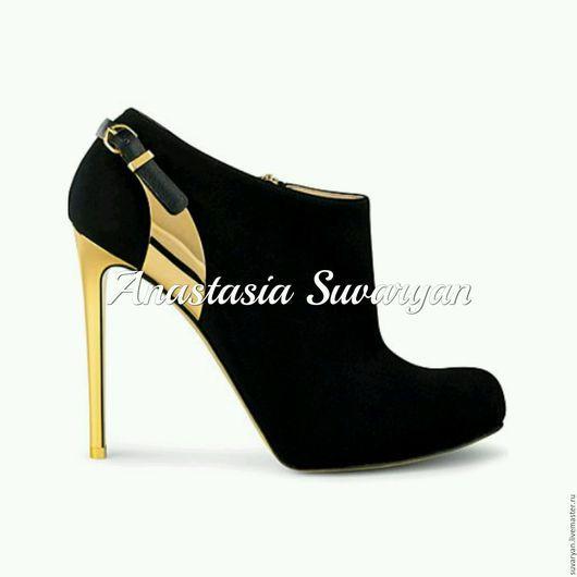 Обувь ручной работы. Ярмарка Мастеров - ручная работа. Купить ботинки. Handmade. Черный, ботинки, ботинки женские