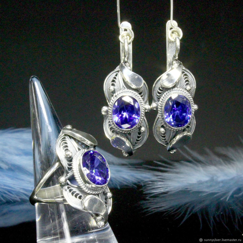 Canary jewelry set with Swarovski crystals in silver (VIDEO), Jewelry Sets, Yerevan,  Фото №1