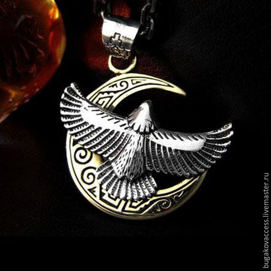 Pendant Eagle and a crescent of 925 unisex, Pendants, Moscow,  Фото №1