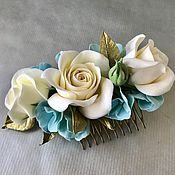 Свадебный салон handmade. Livemaster - original item Comb with roses and hydrangea.. Handmade.