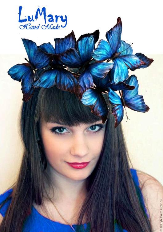 """Диадемы, обручи ручной работы. Ярмарка Мастеров - ручная работа. Купить Ободок """" бабочки"""" шелк синий. Handmade. Синий"""