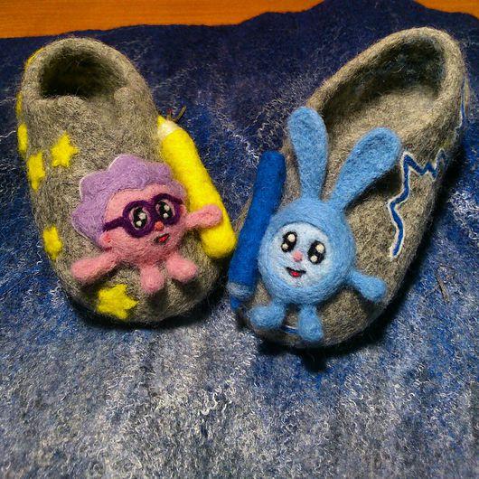 Детская обувь ручной работы. Ярмарка Мастеров - ручная работа. Купить Валяные тапочки Смешарики. Handmade. Тапочки, тапочки из войлока