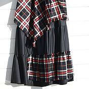 Юбки ручной работы. Ярмарка Мастеров - ручная работа Темно синяя юбка с клетчатой юбкой, которую можно носить как платок. Handmade.