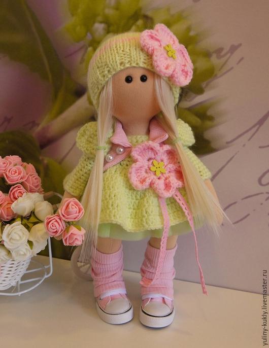 Коллекционные куклы ручной работы. Ярмарка Мастеров - ручная работа. Купить Текстильная куколка-малышка Ляночка. Handmade. Салатовый, блондинка
