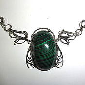 Колье ручной работы. Ярмарка Мастеров - ручная работа Ожерелье с малахитом. Handmade.
