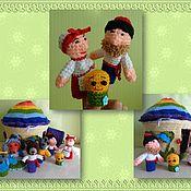 """Куклы и игрушки ручной работы. Ярмарка Мастеров - ручная работа Пальчиковый театр """"Колобок"""" (Домик+персонажи). Handmade."""