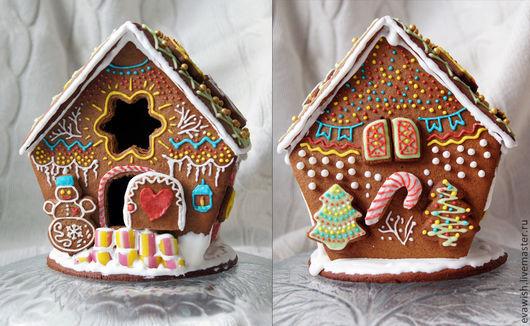 Кулинарные сувениры ручной работы. Ярмарка Мастеров - ручная работа. Купить Уютный пряничный домик снеговика. Handmade. Пряники, пряник