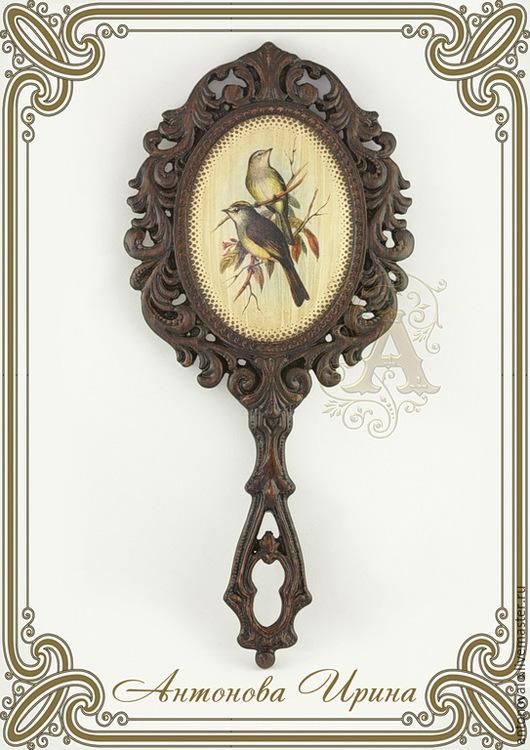 Зеркало ручное-`Птицы`, для дома ручной работы.Антонова Ирина.Ярмарка Мастеров.