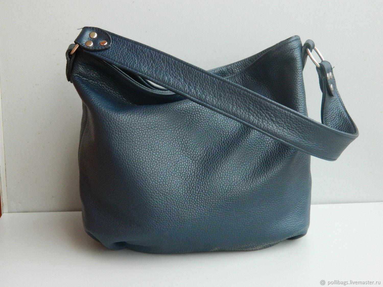 Сумка кожаная женская Сумка хобо Синяя. Синяя сумка, Сумка-мешок, Краснодар,  Фото №1