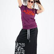 Одежда handmade. Livemaster - original item Purple Print T-shirt-TP0586TR. Handmade.
