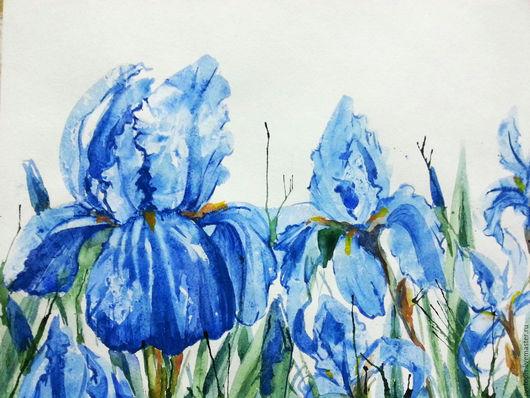 """Картины цветов ручной работы. Ярмарка Мастеров - ручная работа. Купить Картина акварелью """"Голубое настроение""""   А у к ц и о н !. Handmade."""