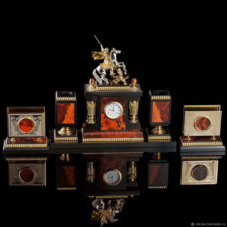 Златоустовский набор из яшмы ГЕОРГИЙ ПОБЕДОНОСЕЦ Арт:03999, Подарки, Москва, Фото №1