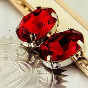 Материалы для творчества handmade. Livemaster - original item Crystals in frames Premium Oval 18h13 mm Red Ruby Siam. 4120. Handmade.