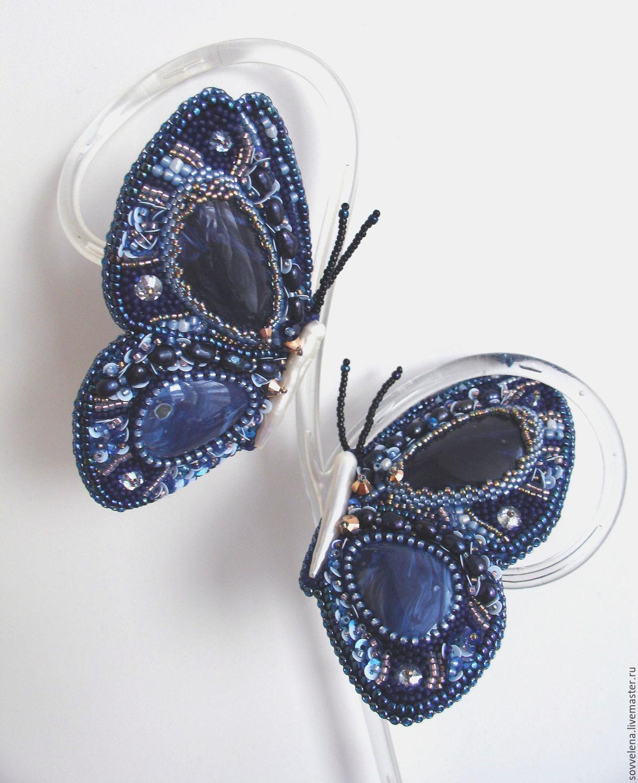 Парные броши - синие бабочки – заказать на Ярмарке Мастеров – BBP13RU   Комплект брошей, Заречный
