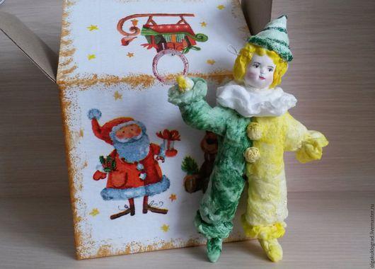 """Персональные подарки ручной работы. Ярмарка Мастеров - ручная работа. Купить Ватная ёлочная игрушка """"Клоун"""". Handmade. Желтый"""