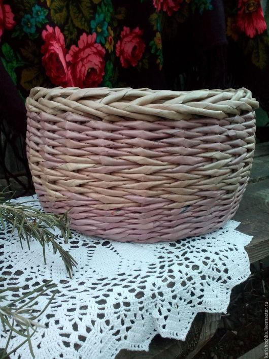 Корзины, коробы ручной работы. Ярмарка Мастеров - ручная работа. Купить лукошко плетеное из бумаги. Handmade. Плетеный, деревенский стиль