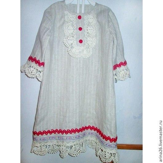 """Одежда для девочек, ручной работы. Ярмарка Мастеров - ручная работа. Купить Платье для девочки """"Славянка"""", основная ткань натуральный лен. Handmade."""