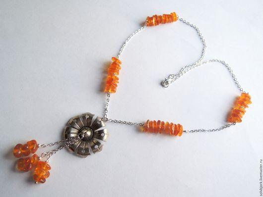 """Колье, бусы ручной работы. Ярмарка Мастеров - ручная работа. Купить Колье """"Капельки солнца"""".. Handmade. Оранжевый, янтарь натуральный"""