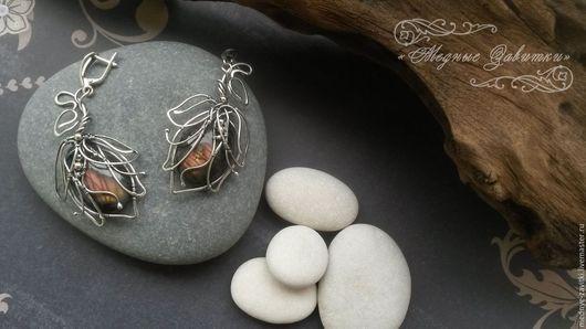 """Серьги ручной работы. Ярмарка Мастеров - ручная работа. Купить Серьги """"Магнолии"""", серебро 925,лабрадор. Handmade. Розовый"""