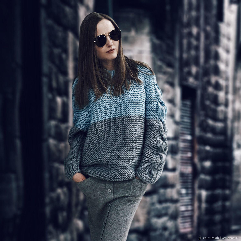 a5a578a828e Стильный свитер с косами на рукавах от SHAPAR бренда женской вязаной одежды  ручной работы в интернет ...