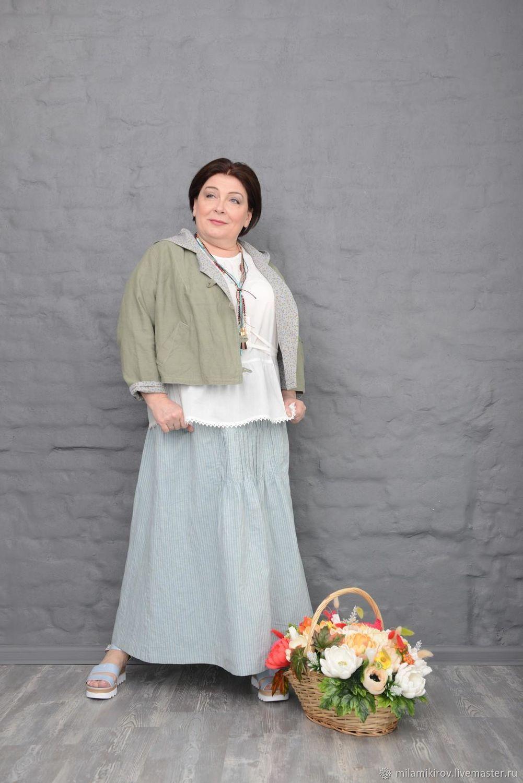 Striped linen skirt with drawstring front. Art. 2326, Skirts, Kirov,  Фото №1