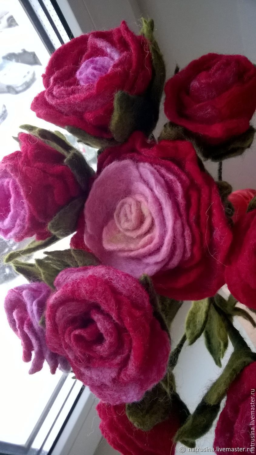 BOUQUETS: Flowers made of felt. Felted bouquet. A bouquet of roses, Composition, Moscow,  Фото №1