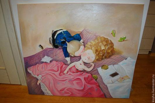 Репродукции ручной работы. Ярмарка Мастеров - ручная работа. Купить картина Поцелуй украдкой 100х85см. Handmade. Разноцветный, принцесса, картина