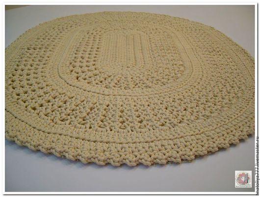Текстиль, ковры ручной работы. Ярмарка Мастеров - ручная работа. Купить Коврик овальный вязаный из шнура. Handmade. Бежевый