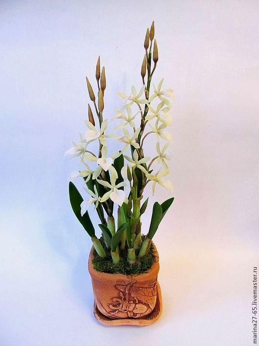 """Искусственные растения ручной работы. Ярмарка Мастеров - ручная работа. Купить Орхидея """" Леди ночь"""". Handmade. Белый"""