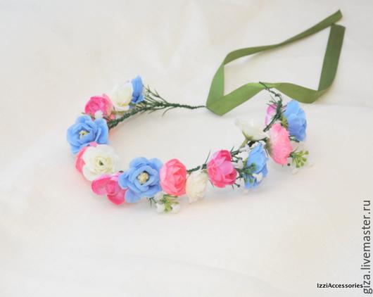Диадемы, обручи ручной работы. Ярмарка Мастеров - ручная работа. Купить Венок из цветов на голову Голубой с розовым для фотосессии. Handmade.