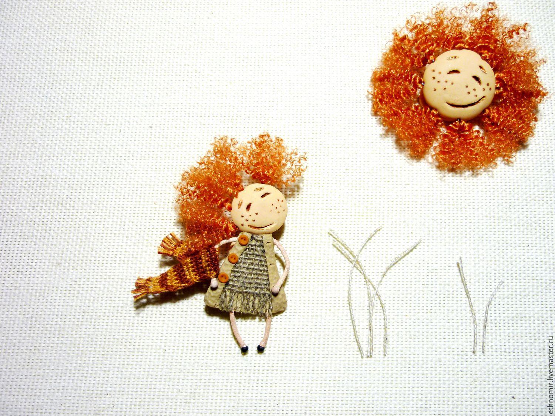 brooch `Hello Sunshine!` len